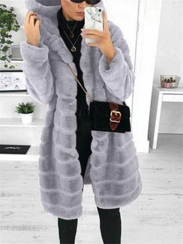 Cozy Warm Thicken Zipper Up Grooved Pattern Faux Fur Hooded Coat
