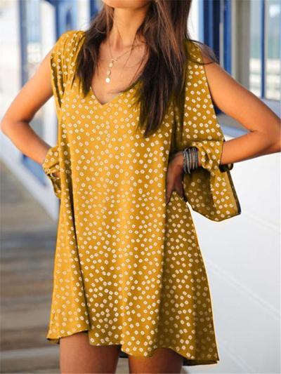 Fashionable V Neck Shoulder Slit Long Sleeve Polka Dot Mini Dress
