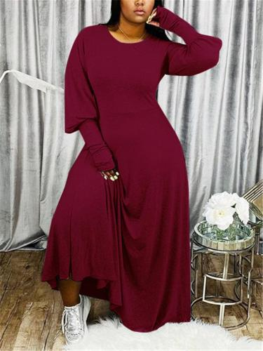 Casual Style Solid Color Round Neck Full Sleeve Maxi Dress