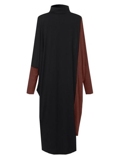 Loose Fit High Neck Contrasting Batwing Long Sleeve Knitted Midi Dress
