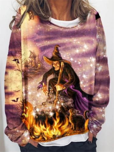 Relaxed Fit Round Neck Halloween Witch Long Sleeve Pullover Tops
