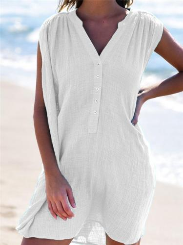Casual Style V Neck Button Sleeveless Solid Color Mini Pullover Dress