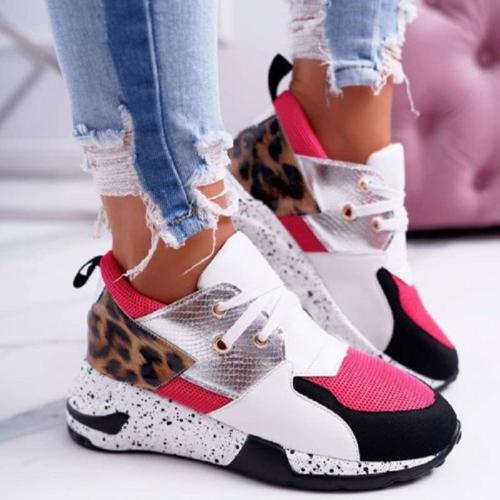 Women Leopard Patchwork Lace-up Sneaker
