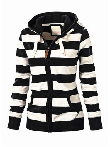 Relaxed Fit Full Zip Up Front Pocket Striped Sweatshirt with Hood