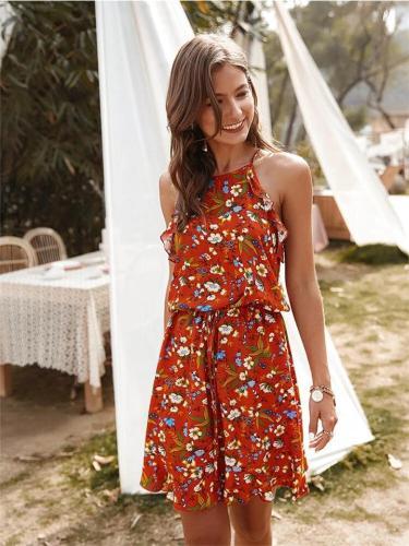 Floral Print Sleeveless Casual Slip Dress