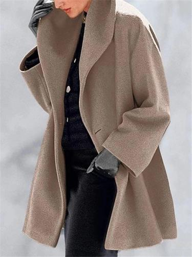 Loose Fit Single Button Up Midi Length Coat with Hood