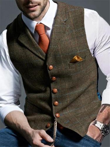 Premium Quality Chest Welt Pocket Button Closure Plaid Waistcoat