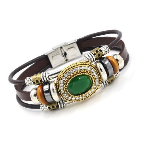Vintage Multilayer Bracelet Leather Rhinestone  Bracelets Ethnic Jewelry