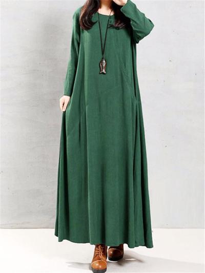 Loose Fit Round Neck Short Long Sleeve Pocket Cotton Maxi Dress