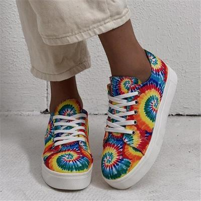 Trendy Low-Cut Multicolor Lace Up Non-Slip Flat Canvas Sneakers
