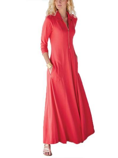 Casual Style Lapel Collar Front Zipper Long Sleeve Pocket Maxi Dress