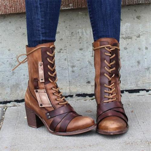 Fashion Chunky Mid Heel Side Zipper Lace Up Pointed Toe Boots
