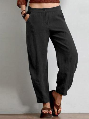 Casual Style Solid Color Wide Leg Button Pocket Pants