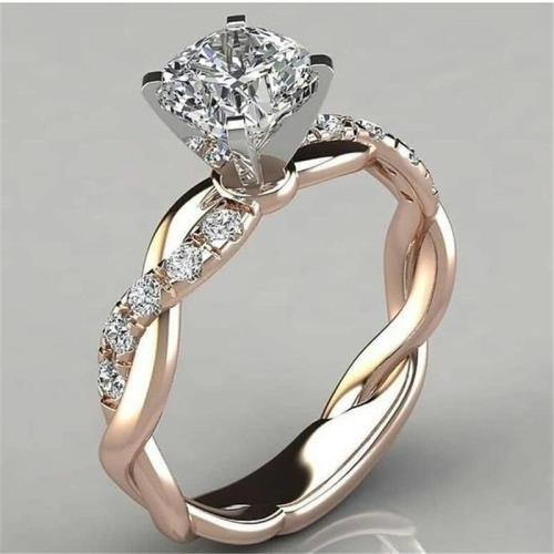 Sparkling Twisted Lines Clear Geometric Zircon Ring