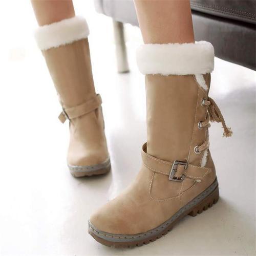 Comfortable Fur Lining Buckle Up Mdi-Calf Non-Slip Snow Boots
