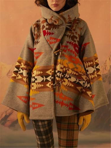 Women's Long Sleeve Color Matching Printed Hoodie Woolen OverCoat