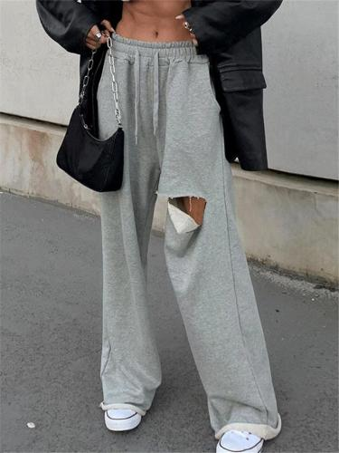 Casual Elastic Waist Drawstring Ripped Design Pocket Trousers