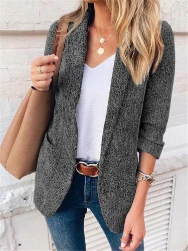 Stylish Slim Fit Side Pocket Solid Color Blazer