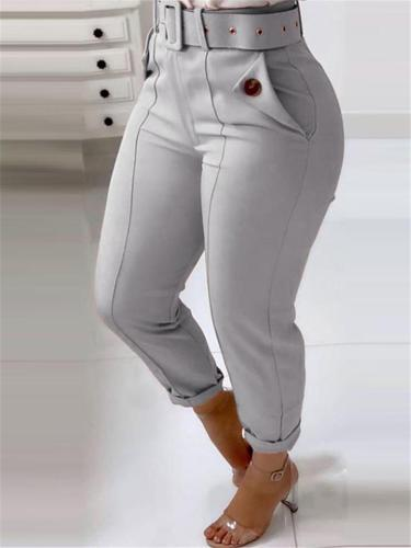Women's Stylish High-Rise Waist Belt Tapered Fit Pocket Stretchy Pants