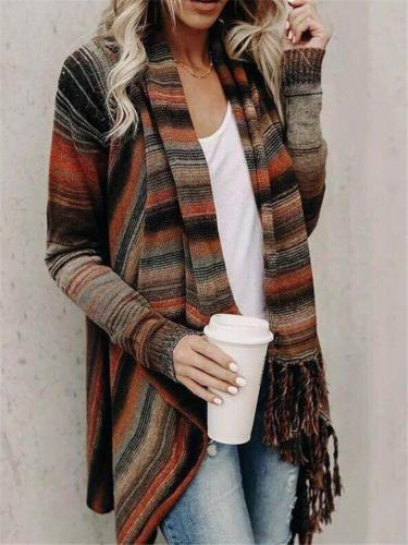Stylish Striped Asymmetric Ribbed Hem Cardigan