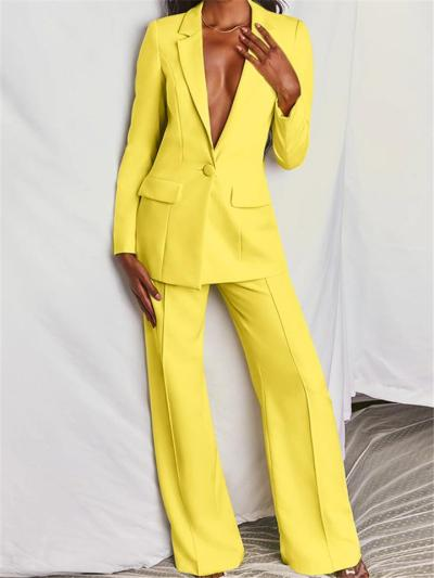 Relaxed Fit Two Piece Suit Button Up Blazer + Wide Leg Pants