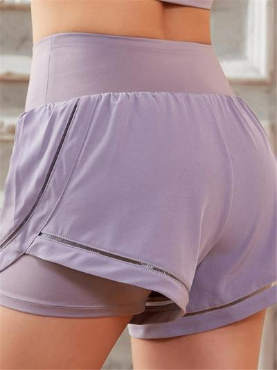 Casual Stretchy Quick Dry Layered Lining Yoga Workout Shorts