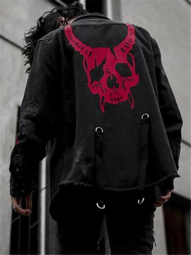 Men's Gothic Demon Skull Cool Denim Jacket