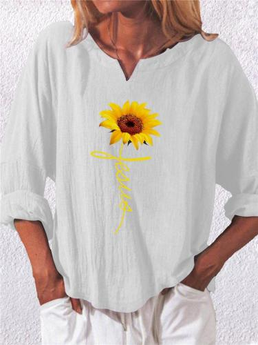Casual Notched V Neck Sunflower Linen Cotton Pullover Tops