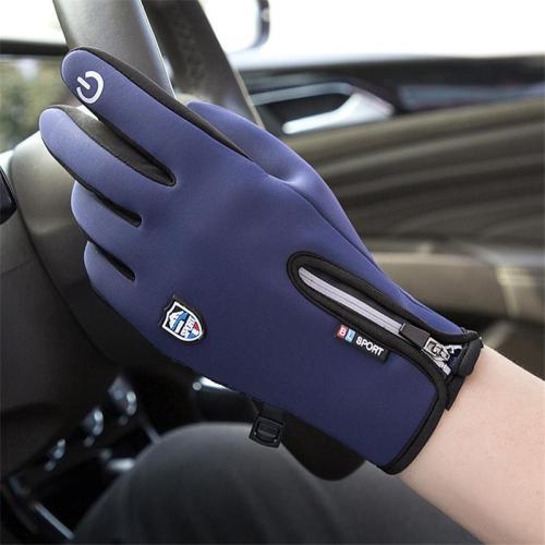 Men's Waterproof Fur Lining Riding Screen Touch Zipper Riding Gloves