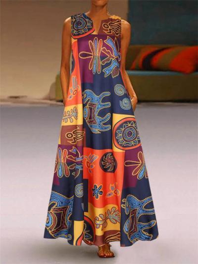 Women's Vintage V-neck Floral Printing Dresses