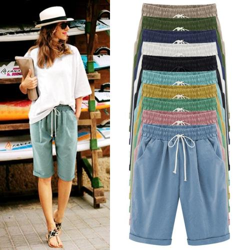 Women's Fashion Elastic Waistband Lace Up Loose Shorts For Summer