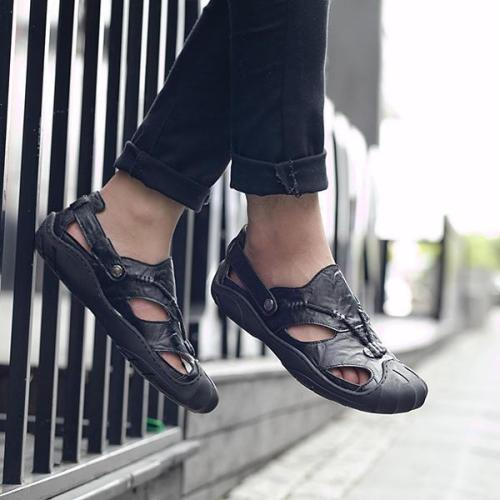 Men Comfortable Genuine Leather Anti Collision Toe Sandals