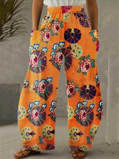 Ethnic Style Elastic Waist Floral Printed Pocket Wide-Leg Pants