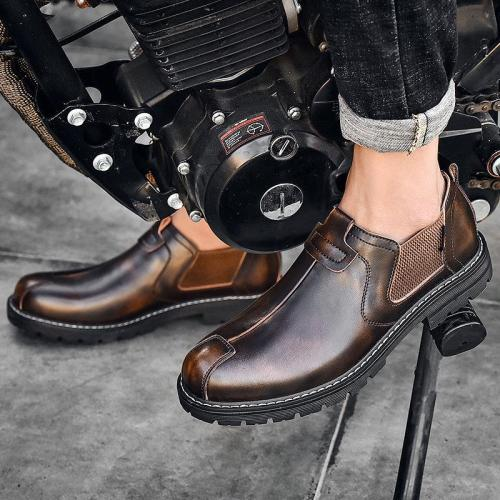 Mens Retro Fashion Business Soft Sole Genuine Leather Casual Shoes