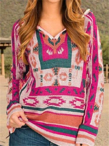 Ethnic Style Geometry Printing LongSleeve Hooded Patchwork Knitting Sweater