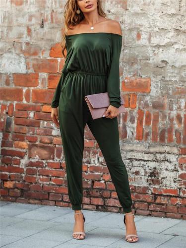 Trendy Off Shoulder Ruched Design Long Sleeve Straight Leg Jumpsuit