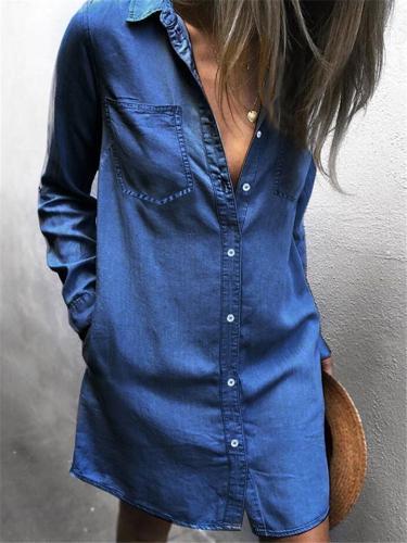 Women's Chest Pockets Denim Coat Long Sleeve Denim Dress