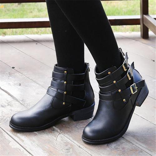 Stylish Cutout Detail Zipper Buckle Up Chunky Heel Boots
