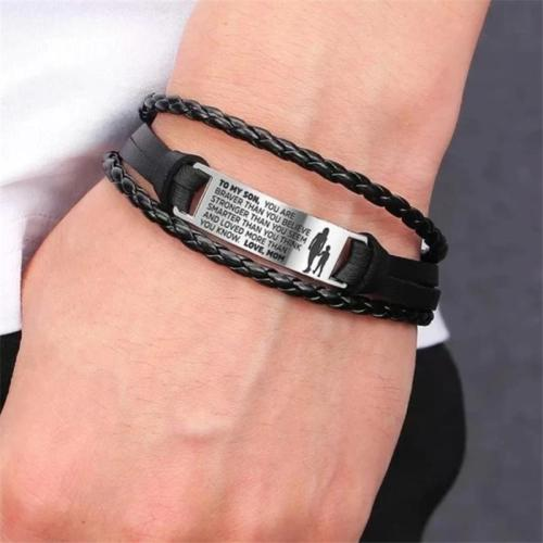 Trendy Men'S Braided Letter Alloy Ornament Bracelet