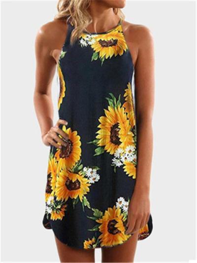 Womens Boho Maxi Dress Sleeveless Summer Floral Casual Loose Beach Dress