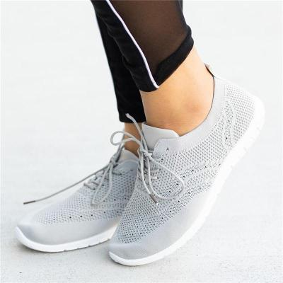 Lightweight Breathable Mesh Lace Up Soft Footbed Flat Sneakers