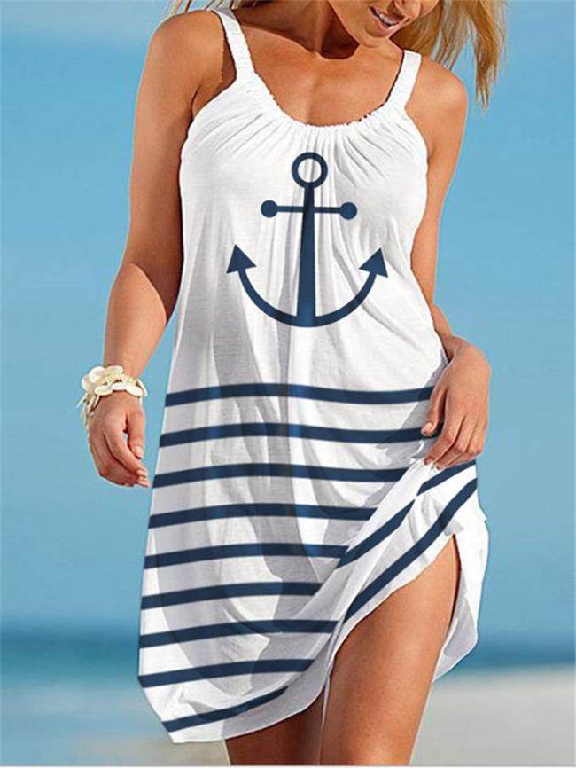 Casual Style Scoop Neck Striped Sleeveless A-Lined Beach Dress