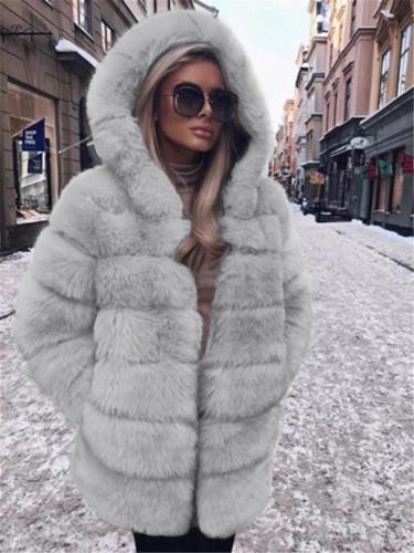Ultra Comfortable Pocket Faux Fur Hooded Midi Length Coat