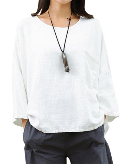 Oversized Round Neck Solid Color 3/4 Sleeve Cotton Pullover Tops
