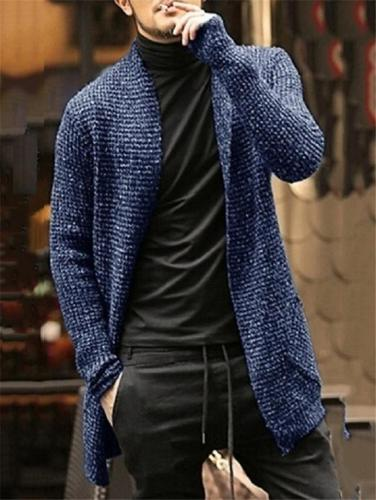 Casual Fit Heathered Open Front Knitted Sweater Cardigan
