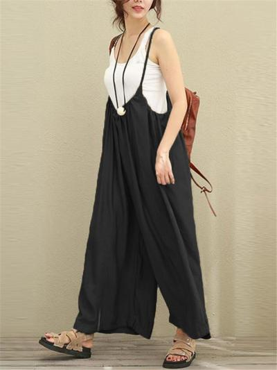 Loose Fit Solid Color Strappy Cotton Linen Wide Leg Bibs