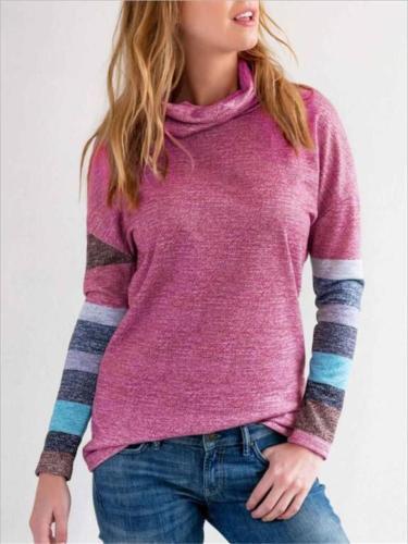 Stylish Rose Colorblock Turtleneck Long Sleeve Sweater