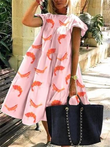 Cute Print Ruffle Midi Length Wide Dress