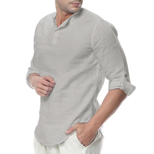 Mens Cotton Button Neck Casual Long Sleeve Shirt