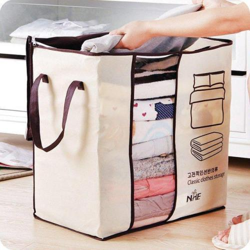 Charcoal Nonwovens Convenient Storage Bag For Quilt And Clothes 65L
